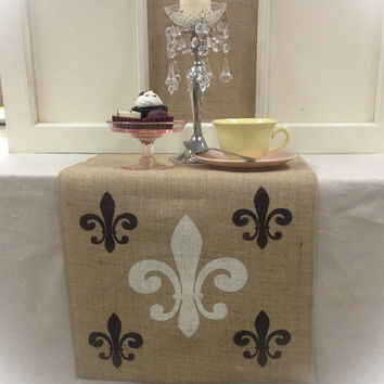 "Burlap Table Runner 12"", 14"", & 15"" wide with a Fleur de Lis pattern on the both ends"