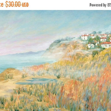 ON SALE Small Santa Barbara Riviera Print On Silvered Paper