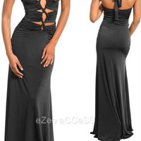 SeXY WoMeN BLaCK FuLL FLooR LeNGTH LoNG MaXi CRiSSCRoSS RuCHed FiTTeD PRoM DReSS
