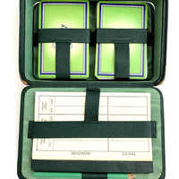Bridge Card Set, Mark Cross, Green Leather Folding Box, Travel Set, Playing Cards, Vintage 1935, Whist Club New York, Vintage Gift For Him