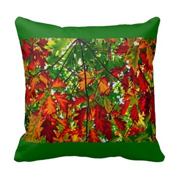 beautiful, colorful, leaves pillow