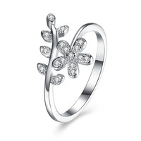 925 Silver Ring Floral Stone Ring