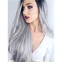 Popular Black Roots Grey Ombre Long Synthetic Lace Front Wig