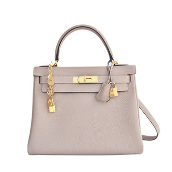 Hermes Gris Tourterelle 28cm Togo Kelly Gold GHW Shoulder Bag Perfection