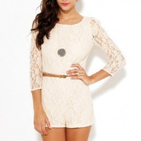 Belted Open Back Lace Romper by AKIRA