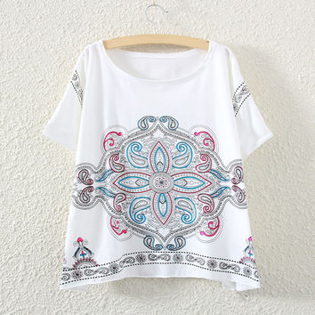 White Short Sleeve Chinese Knot Print T-Shirt