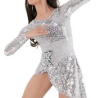 Weissman™ | Long-Sleeve Crystal Sequin Lace Dress