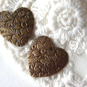 2- Floral Heart Charm Vintage Style Antique Bronze Diy Charms and Pendant Hand Make Your Own Jewelry Supplies