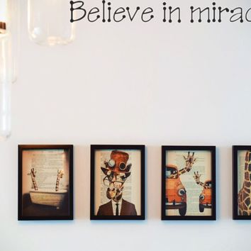 Believe in miracles Style 23 Die Cut Vinyl Decal Sticker Removable