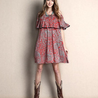 Red Paisley Off-Shoulder Tunic Dress