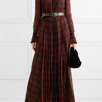 Philosophy di Lorenzo Serafini - Satin-trimmed pleated tartan chiffon maxi dress