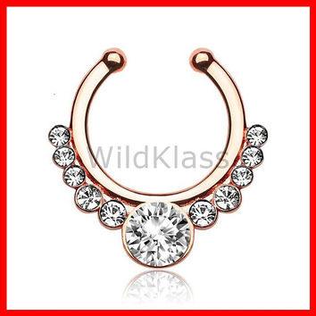 Rose Gold Helios with Gems Non-Piercing Septum Hanger Fake Septum Ring Faux Nose Ring Rose Gold Steel Gold Sold by Piece