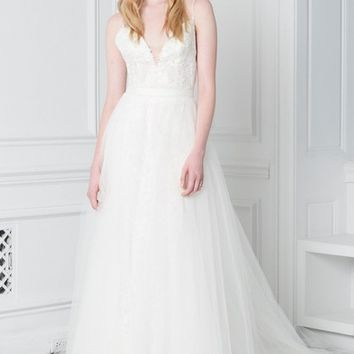 BLISS Monique Lhuillier Lace Plunge Neck Ballgown | Nordstrom