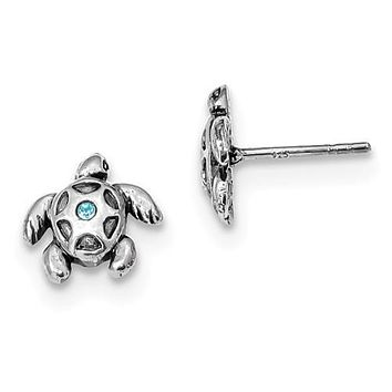 Sterling Silver Antiqued Aqua Crystal Turtle Stud Post Earrings