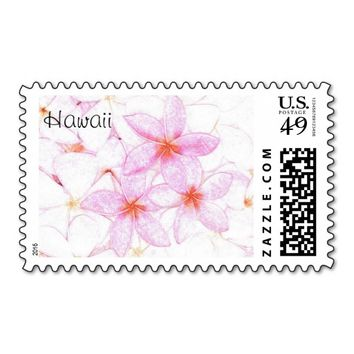 Pink Plumeria Hawaii Themed Stamps