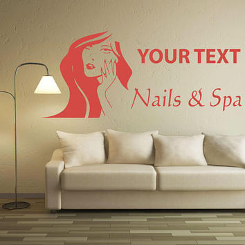 Custom Spa Salon Decal, Beauty Salon Decor, Custom Nail Shop Quote, Salon Advertisement Decal, Nails And Spa Decal, Salon Window Decal nm037