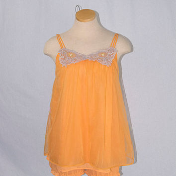 Vintage 70s Babydoll Nightgown & Bloomers Set Orange Nightie