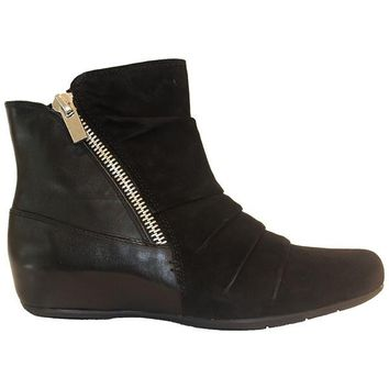 Earthies Pino - Black Suede/Leather Dual Zip Low Wedge Bootie