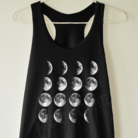 Moon phase shirt moon shirt moon night space funny tank summer shirt women shirt racer shirt racer women tank top women tunic women tshirt