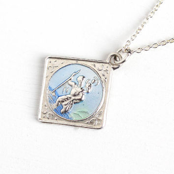 Vintage St. Christopher Sterling Silver Charm Necklace - Blue & Green Enamel Religious Saint Catholic Dainty Sqaure Fob Pendant Jewelry
