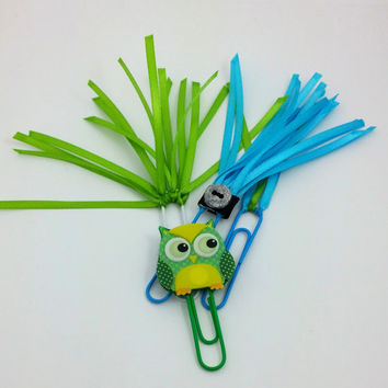 Bookmark Set, Green Yellow Owl, Owl Bookmark, Ribbon Bookmarks, Green and blue bookmark, Paperclip bookmarks, Button Bookmarks, Cute Owl