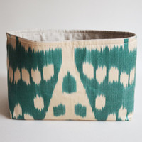 Sukan / 1 Organic Silk ikat Tea Green, Raw Pure Linen Storage Organization - Organizer Container Basket Bin - Custom Basket Bin