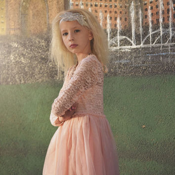 "City Glam ""Abbey"" Pink Princess Lace Dress & Necklace - Tea Length"