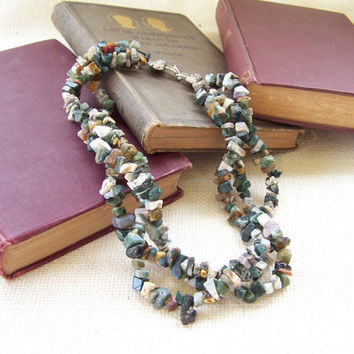 CLEARANCE - 3-Strand Chunky Moss Agate Chip Statement Necklace - Handmade Jewelry - One of a Kind - Ready to Ship