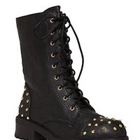 Black And Gold Stud Combat Boot - 730936