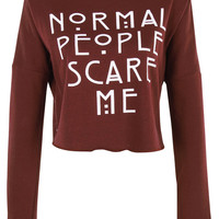 Normal People Scare Me print crop top shirt womens ladies crop sweat