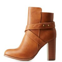Camel Belted Chunky Heel Booties by Charlotte Russe