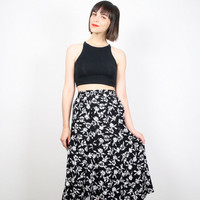 Vintage Midi Skirt Black and White Floral Print Skirt Knee Length 1980s 80s High Waisted Skirt Tea Length Secretary Dress Skirt XS S Small M