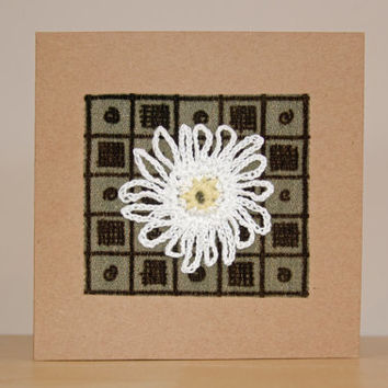 Handmade Crochet Flower Card - Velvet Background-  Mothers Day Gift for Mum - Card Mother's Day - Happy Birthday Card - Crochet Flower Card