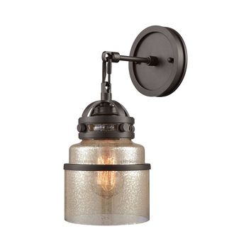 16450/1 Gramercy 1 Light Wall Sconce In Oil Rubbed Bronze With Mercury Glass