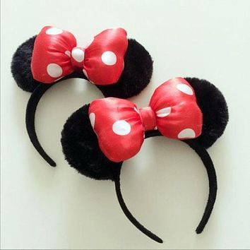 1 piece red Minnie mickey ear baby cartoon cute Headwear Bow women Hair bands minnie mouse ears headband for girls lady baby