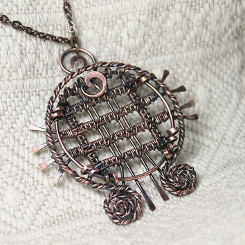 Scotland wire-wrapped pendant necklace with Tartan pattern - Bohemian necklace - Copper pendant necklace