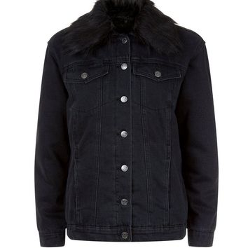 Black Faux Fur Collar Denim Jacket | New Look