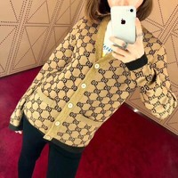 """Gucci"" Women Retro Fashion Classic Logo GG Letter Wool Knit Sweater V-Neck Long Sleeve Cardigan Coat"
