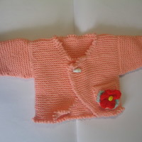 Hand Knitted Cardigan for 0 - 6 months (kids baby present girls new born flower)