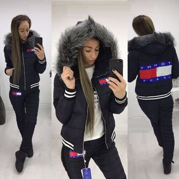 Tommy Hilfiger 2017 Winter Fashion Women Hoodie Top Sweater Trousers Two Piece Down Jacket