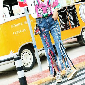 ONETOW Personality Fashion Irregular Hollow Crisscross Bandage Loose Jeans Pants Trousers