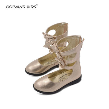 2016 spring new shoes for girls boots gold children high boots shoes baby flower boots kids summer shoes bebe tall sandals black