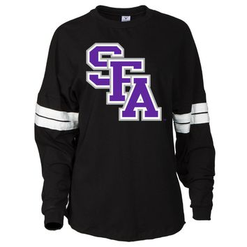 Official NCAA SFA Lumberjacks - 03SFA1 Women's Oversized Football Tee with Stripes