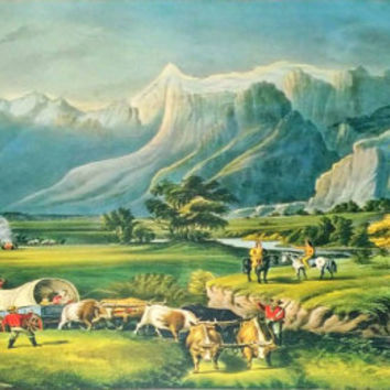 Currier and Ives The Rocky Mountains Late 1800s Lithograph
