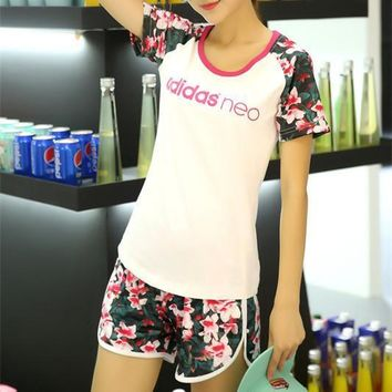 """Adidas Neo"" Women Casual Letter Multicolor Floral Print Short Sleeve Shorts Set Two-P"