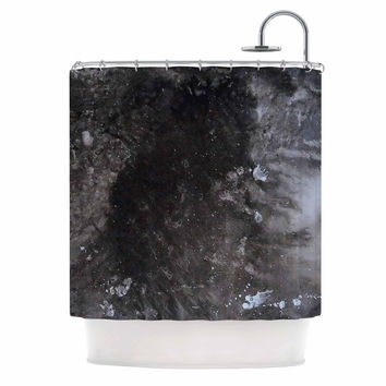 """Abstract Anarchy Design """"Crepuscular Nebula"""" Gray Black Shower Curtain"""