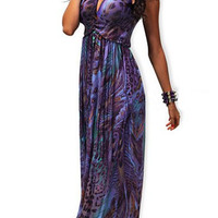 Purple Halterneck Peacock Print Maxi Dress
