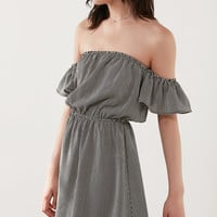 Kimchi Blue Off-The-Shoulder Striped Ruffle Sleeve Dress | Urban Outfitters