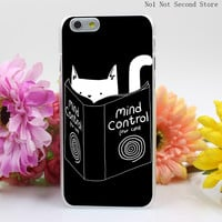 Super Cute Cat Hard Clear Transparent Cover for iPhone 4 4S 5 5S SE 5c 6 6s Plus Phone Cases
