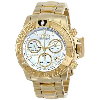 Invicta 15129 Men's Subaqua Noma II Chronograph Platinum Grey MOP Dial Gold Tone Steel Dive Watch